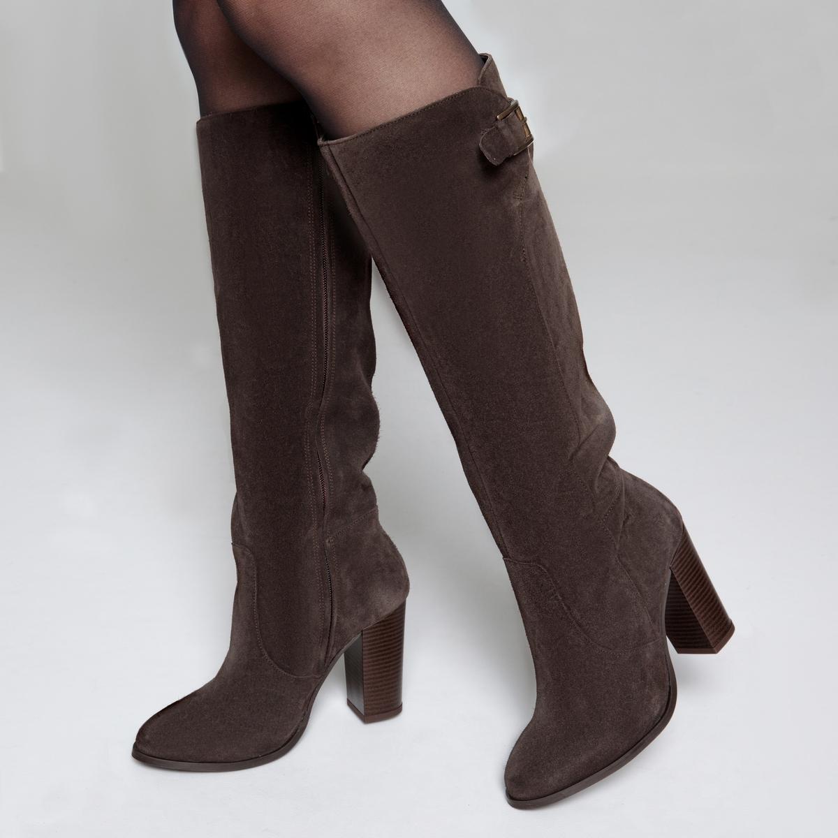 Сапоги кожаные на высоком каблуке
