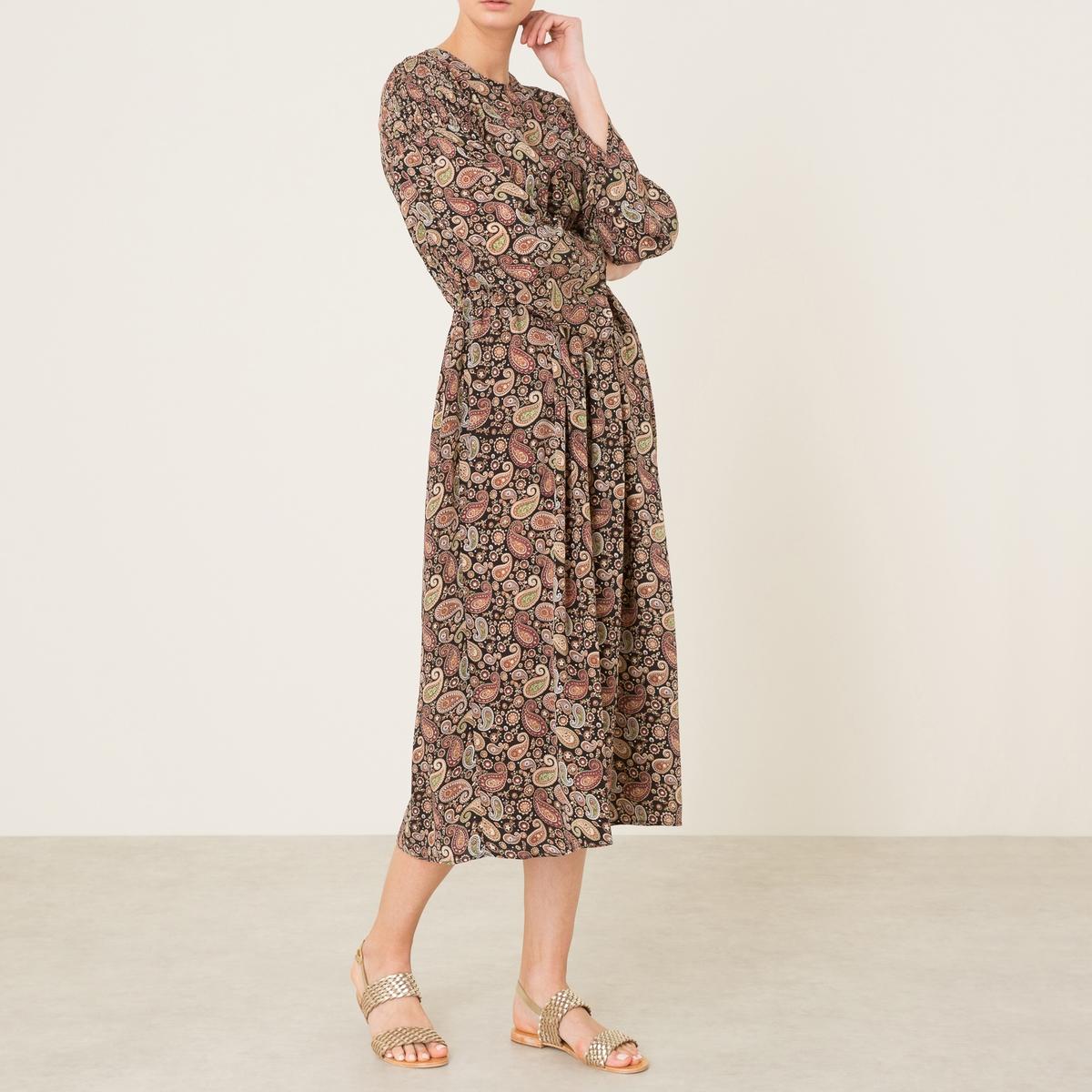 Платье длинное с рисункомДлинное платье с рисунком LAURENCE BRAS из шелка. Круглый вырез. Эластичные сборки и складки от пояса. Длинные рукава.Состав и описание   Материал : 100% шелкМарка : LAURENCE BRAS<br><br>Цвет: рисунок пейсли<br>Размер: S