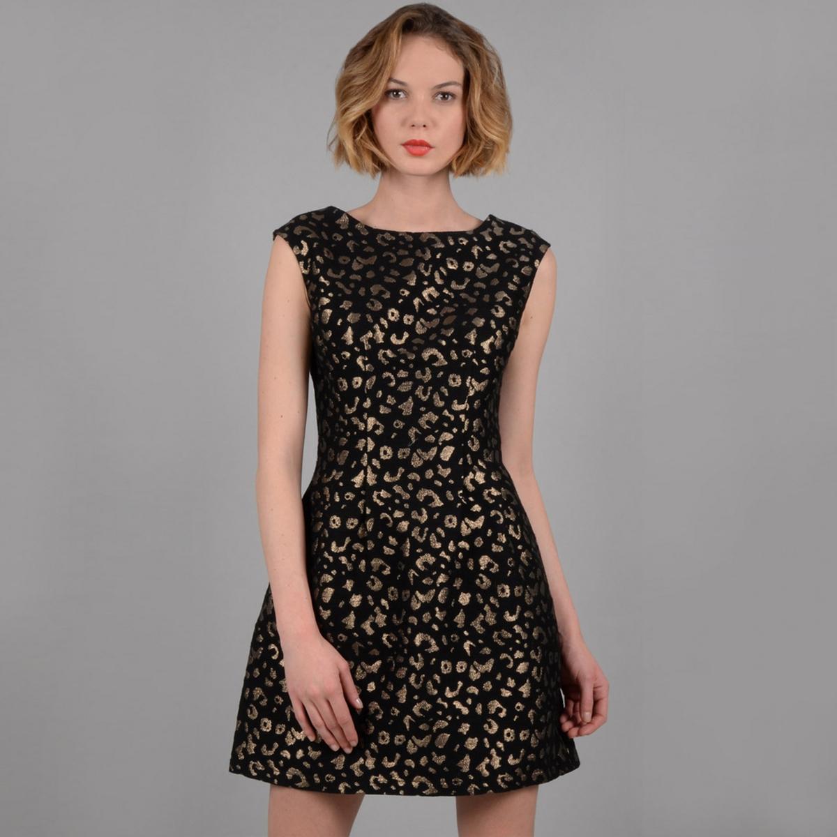 Платье жаккардовое без рукавов с леопардовым принтом