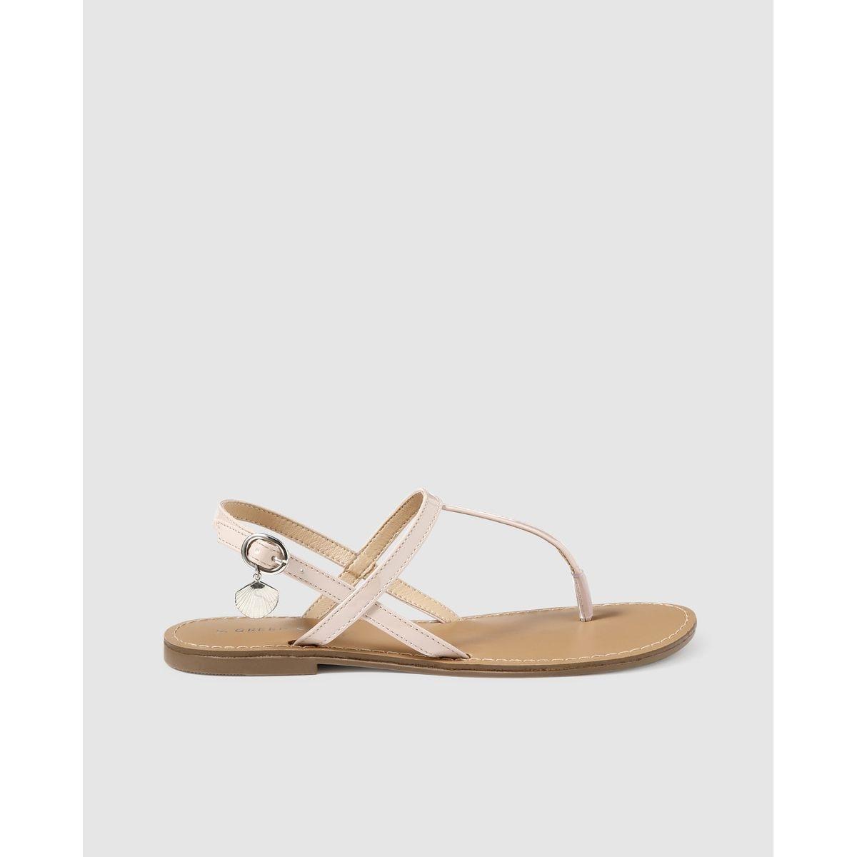 Sandales plates  nude avec décoration nupieds