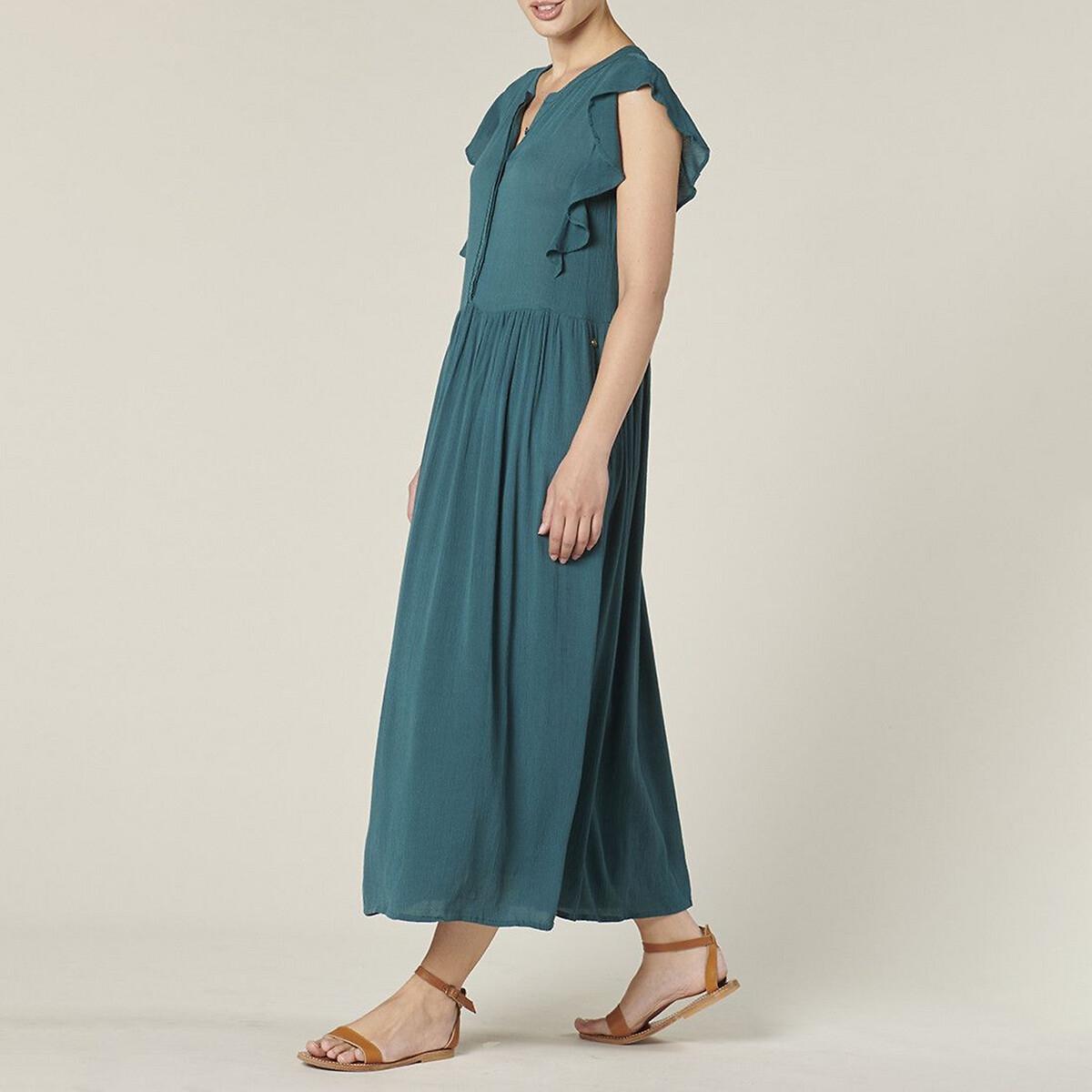 Платье La Redoute Длинное с короткими рукавами с воланами DESIRE 36 (FR) - 42 (RUS) зеленый