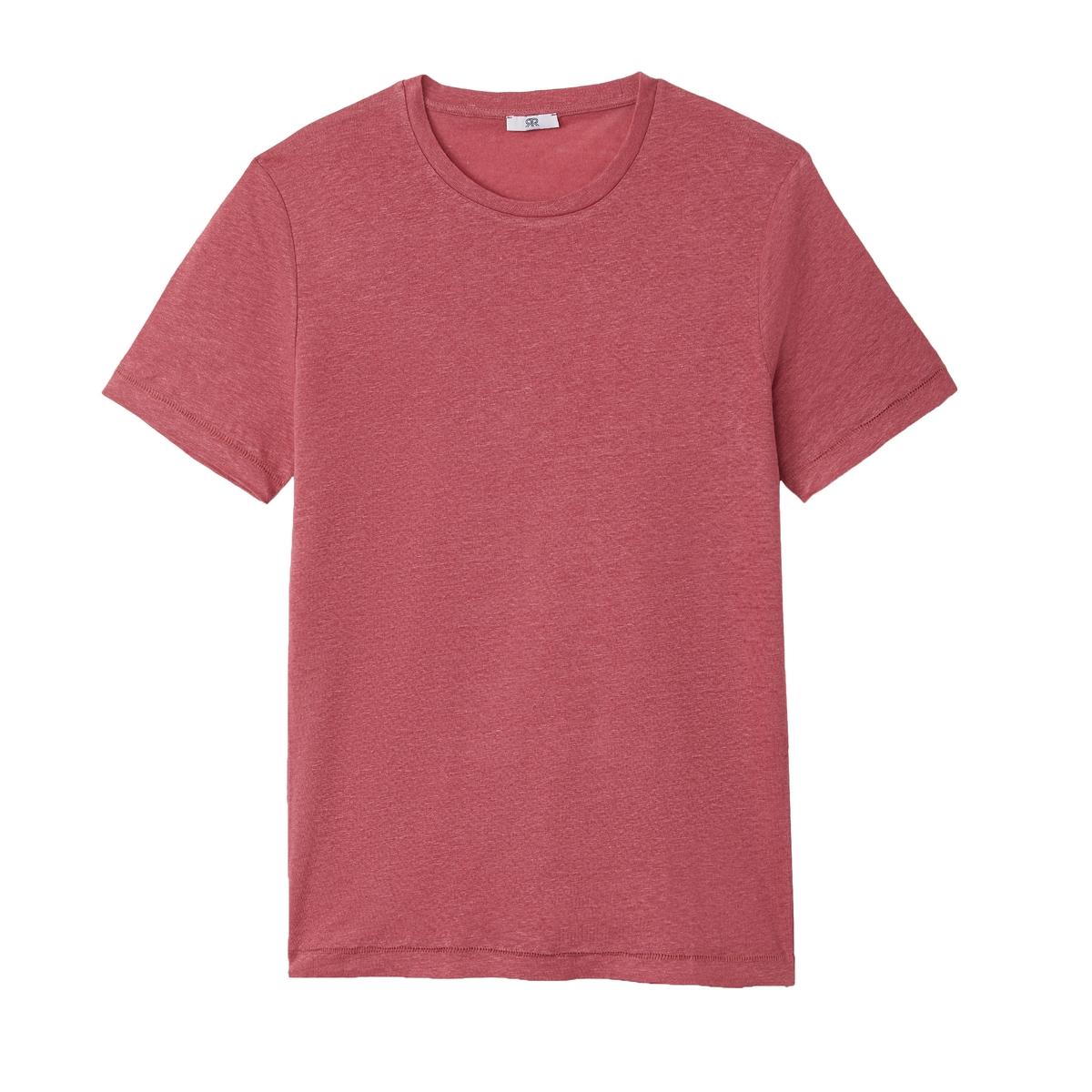 Футболка La Redoute С круглым вырезом из льна XL розовый свитшот la redoute la redoute xl розовый