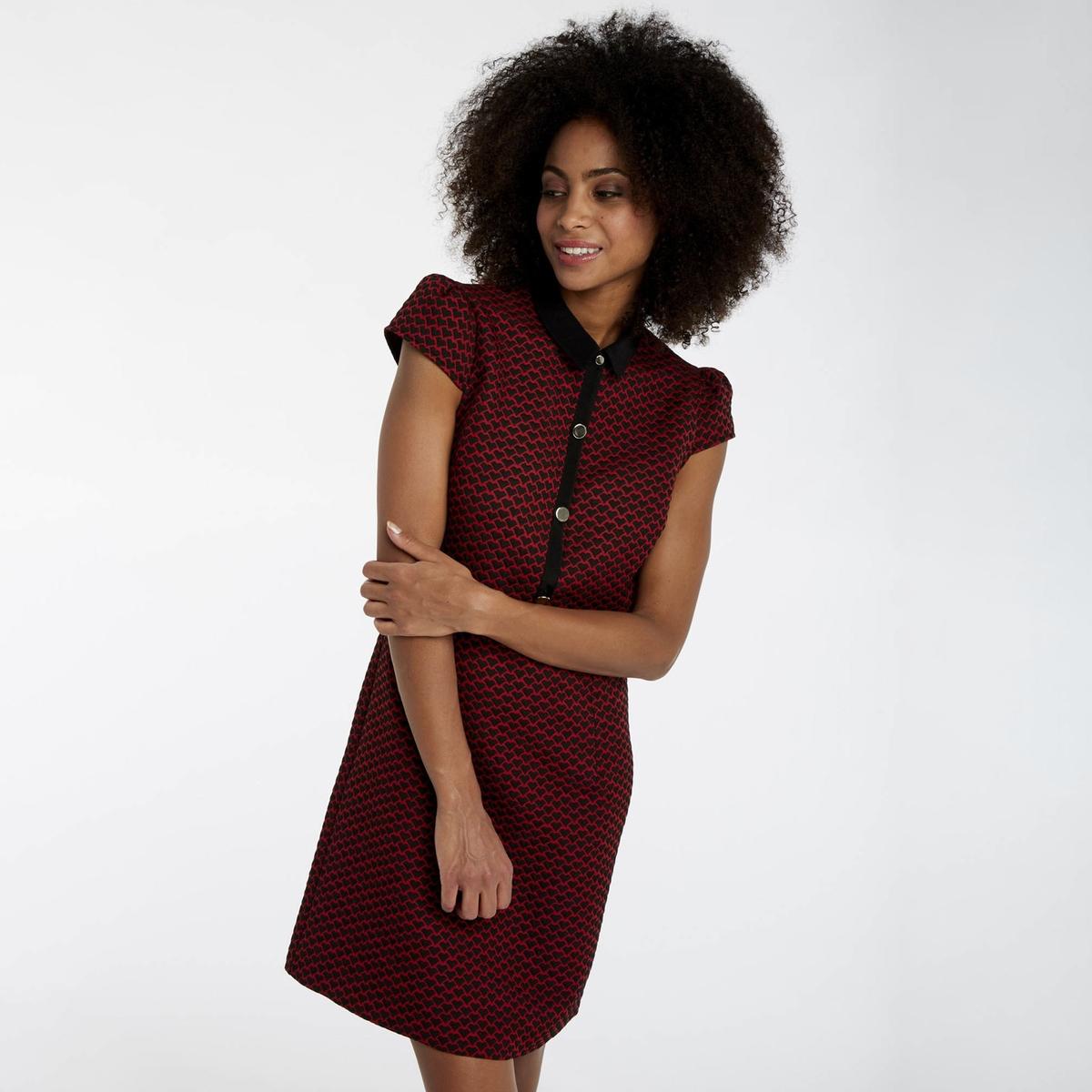 Платье La Redoute Из жаккарда короткое с принтом сердечки 36 (FR) - 42 (RUS) красный цена