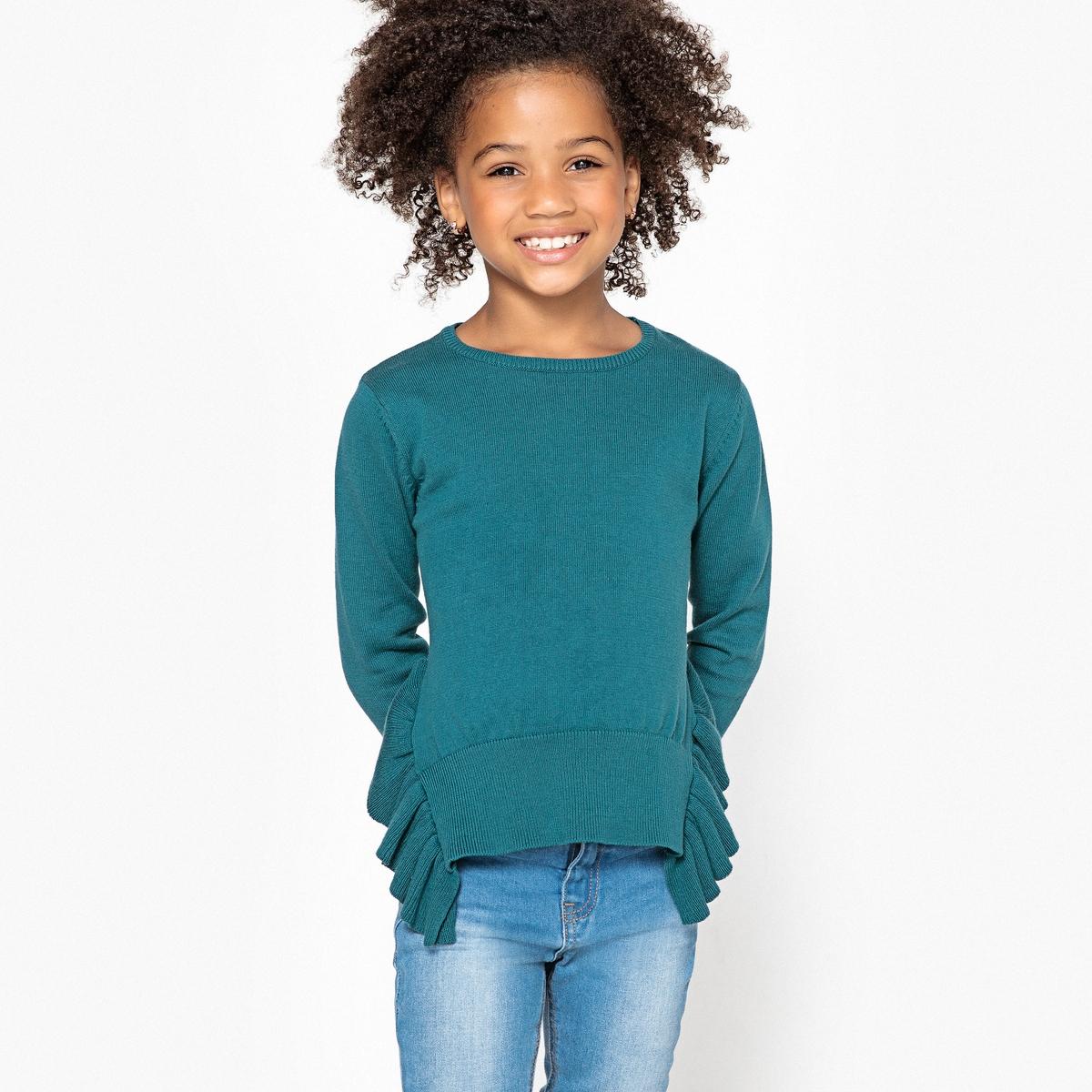 Пуловер La Redoute Из тонкого трикотажа с воланами 5 лет - 108 см синий наматрасник la redoute тонкий толщина см nizami 180 x 200 см синий