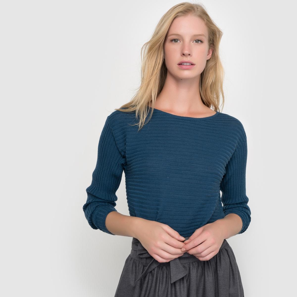 Пуловер в рубчик, 100% шерсть мериноса