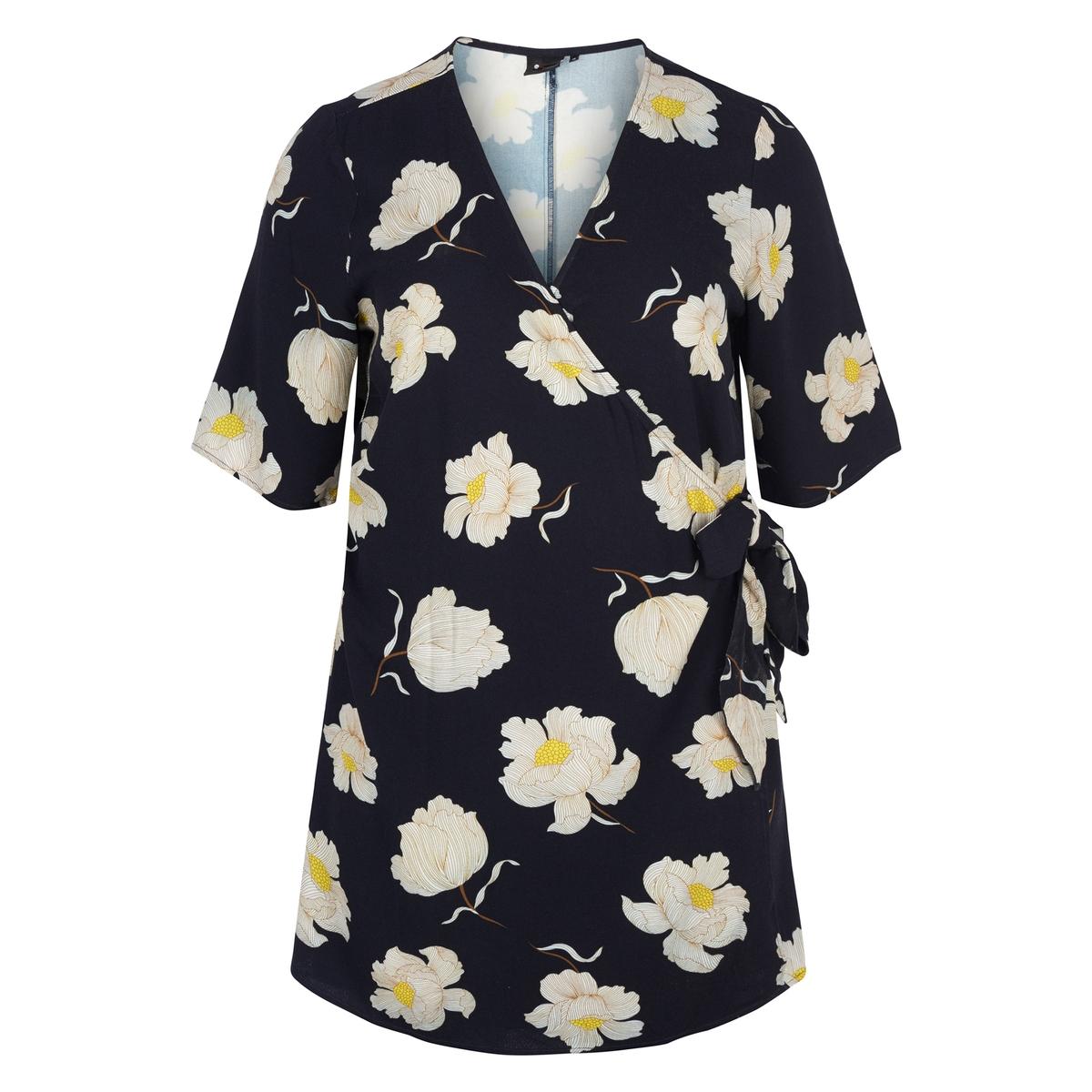 Блузка с запахом и цветочным принтом