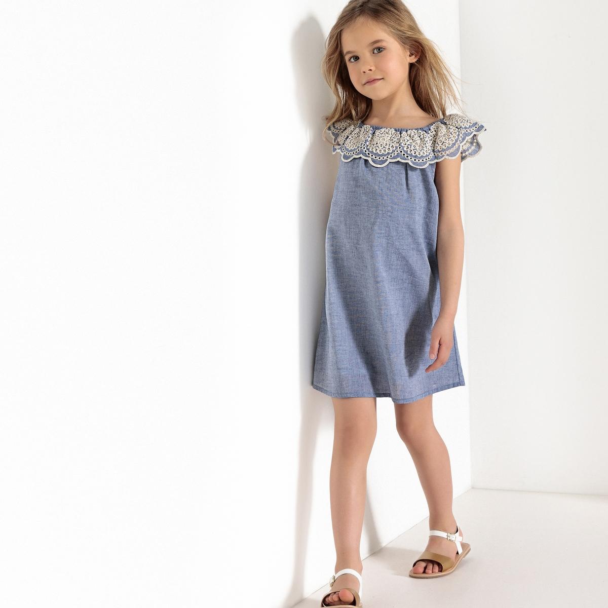 платье с вырезом-лодочка и вышивкой 3-12 лет