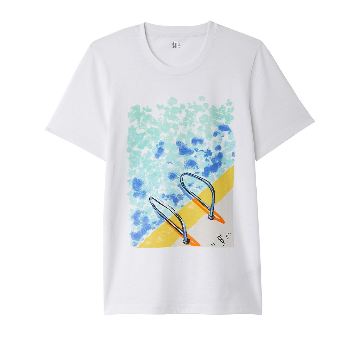 T-shirt com gola redonda, estampada