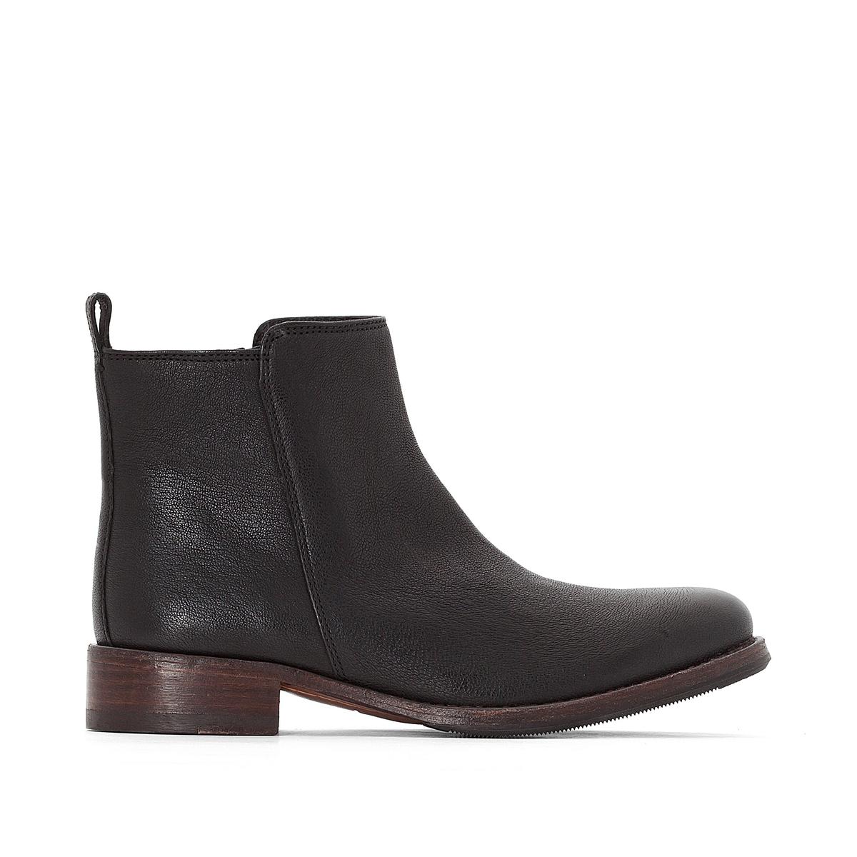 Ботинки кожаные Tomina StarВерх : Кожа.   Подкладка : Кожа.   Стелька : Кожа.   Подошва : Каучук   Высота каблука : 3 см   Форма каблука : плоский каблук   Мысок : закругленный   Застежка : молния<br><br>Цвет: черный<br>Размер: 37