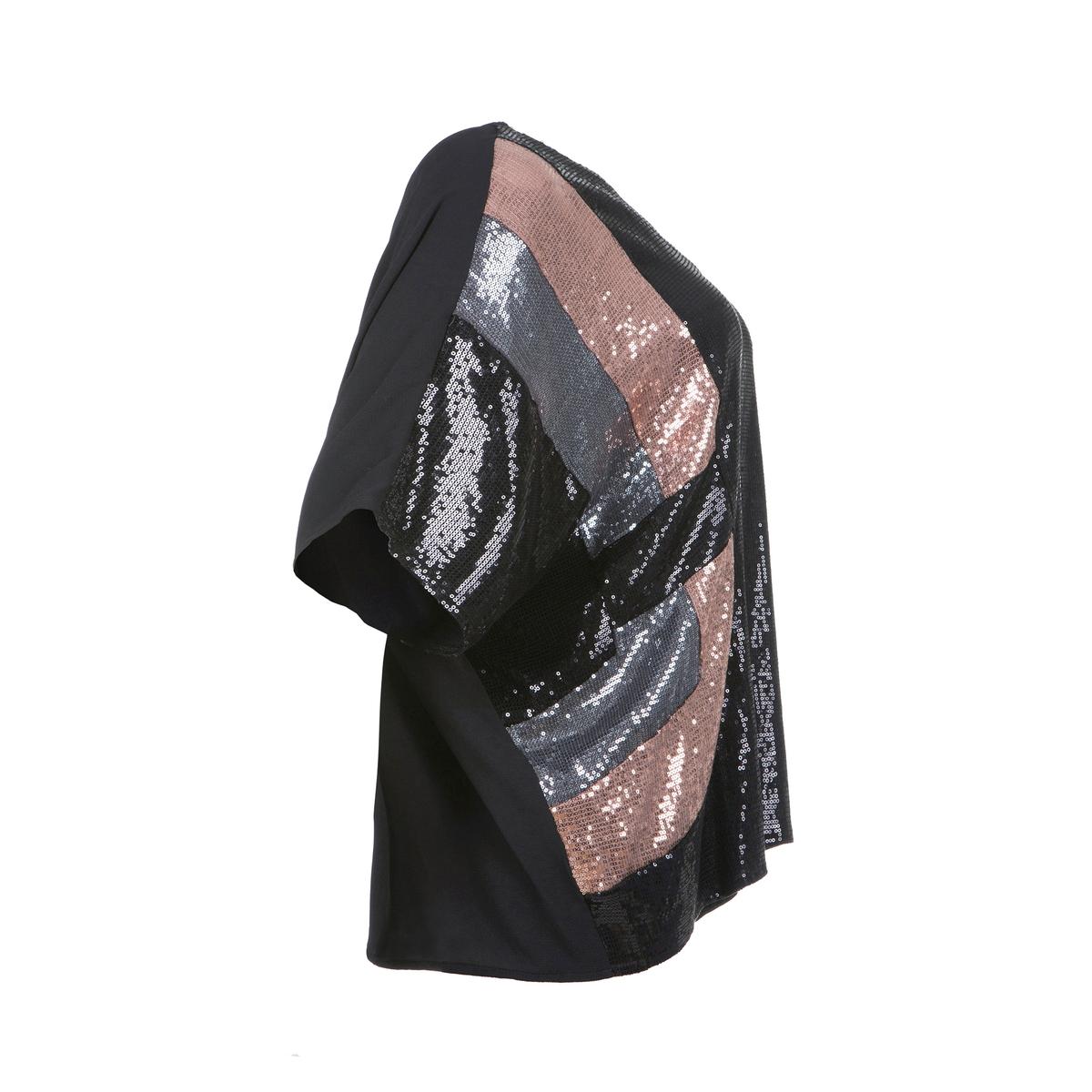ПуловерБлуза-пуловер с блестками от MAT FASHION,  рукава летучая мышь. 96% полиэстера, 4% эластана. Спереди геометрический рисунок из блесток трех цветов. Рукава летучая мышь. V-образный вырез. Спинка из легкого материала черного цвета.<br><br>Цвет: разноцветный<br>Размер: 44/48
