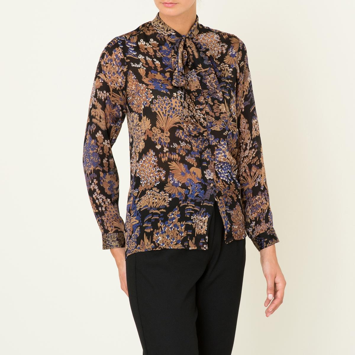 Рубашка женская TORMINAРубашка MES DEMOISELLES, модель TORMINA. Из шелка. Закругленный вырез с завязками . Длинные рукава на пуговицах . Застежка на пуговицы. Сплошной цветочный рисунок. Легкий и струящийся покрой .Состав &amp; Детали Материал : 100% шелк Марка : MES DEMOISELLES<br><br>Цвет: черный