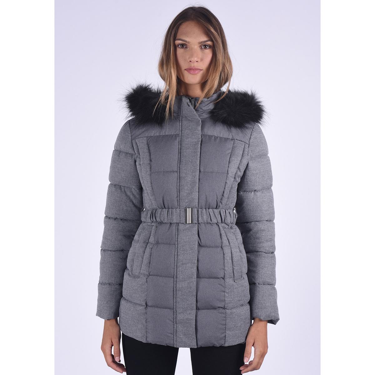 Куртка из двух материалов с капюшоном с оторочкой из искусственного меха 12storeez шуба укороченная из искусственного меха бежевый