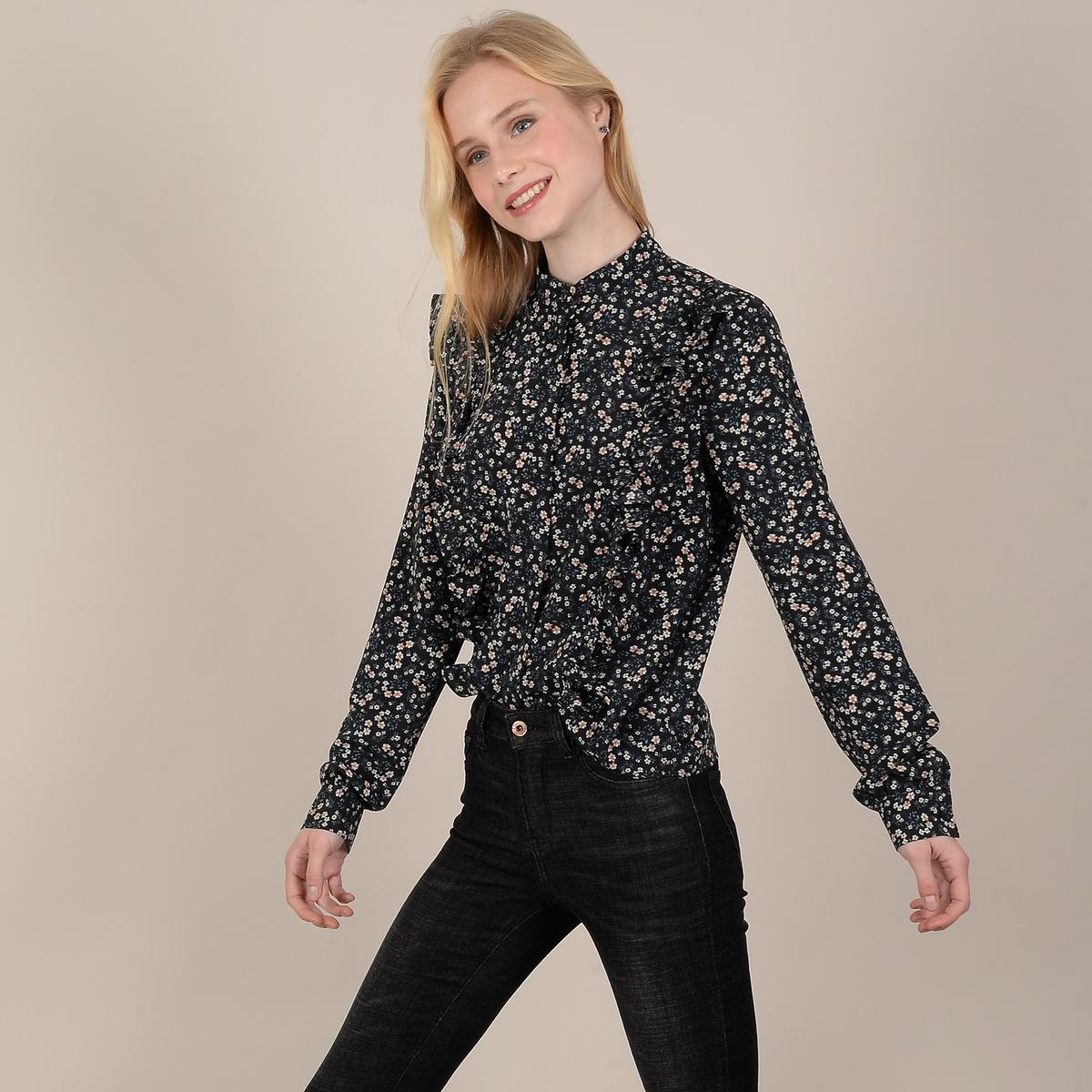 Блузка La Redoute С цветочным рисунком и длинными рукавами с воланами XL черный платье la redoute с цветочным рисунком короткими рукавами и воланами на груди s оранжевый