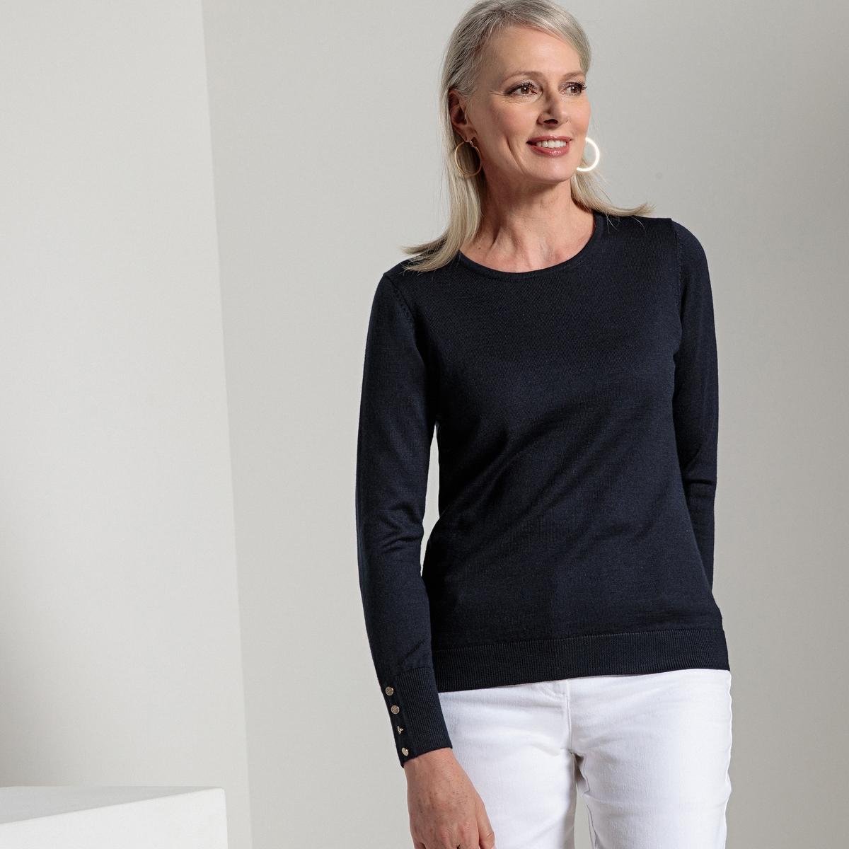 Пуловер однотонный с круглым вырезом, трикотаж из 50% шерсти мериноса
