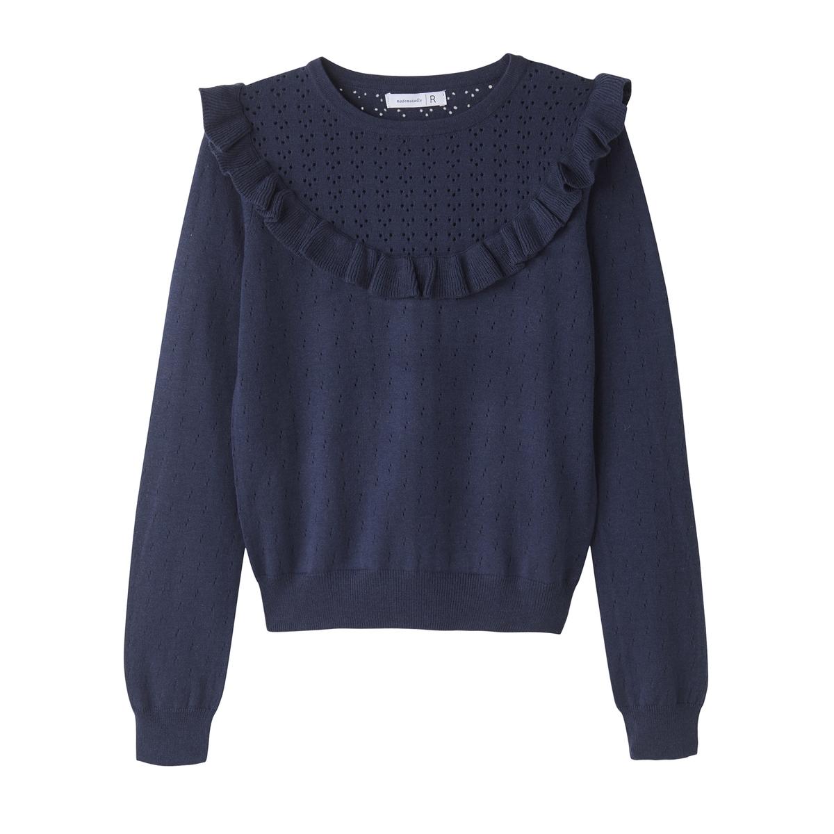 Пуловер ажурный, с воланами из вискозы