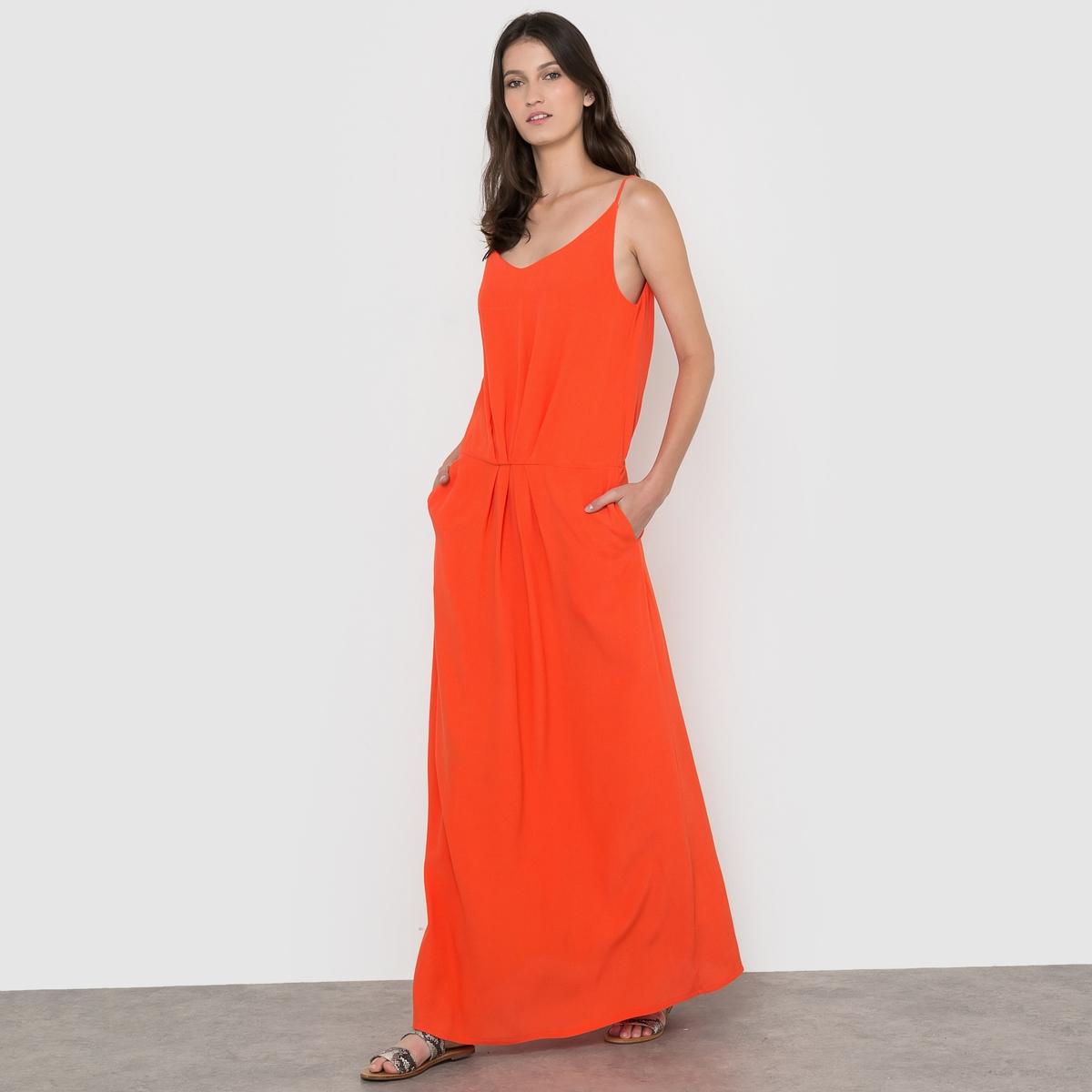 Платье длинное однотонное на тонких бретелях