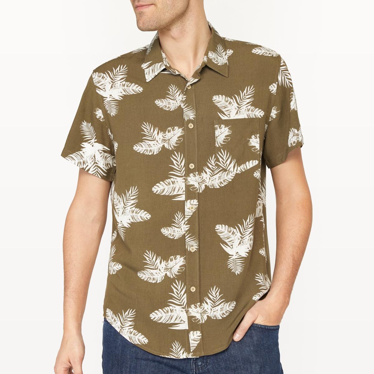 Рубашка прямого покроя с короткими рукавами и рисунком