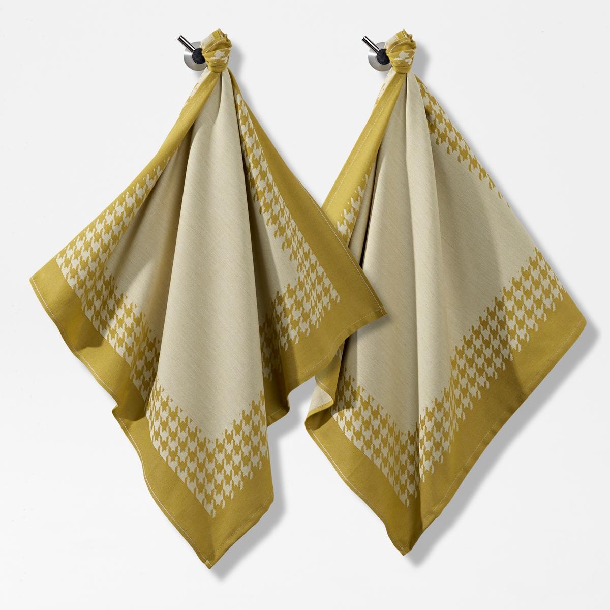 Полотенца кухонные с жаккардовым принтом гусиная лапка (комплект из 2 штук) полотенца банные la pastel комплект полотенец 2 предмета onda