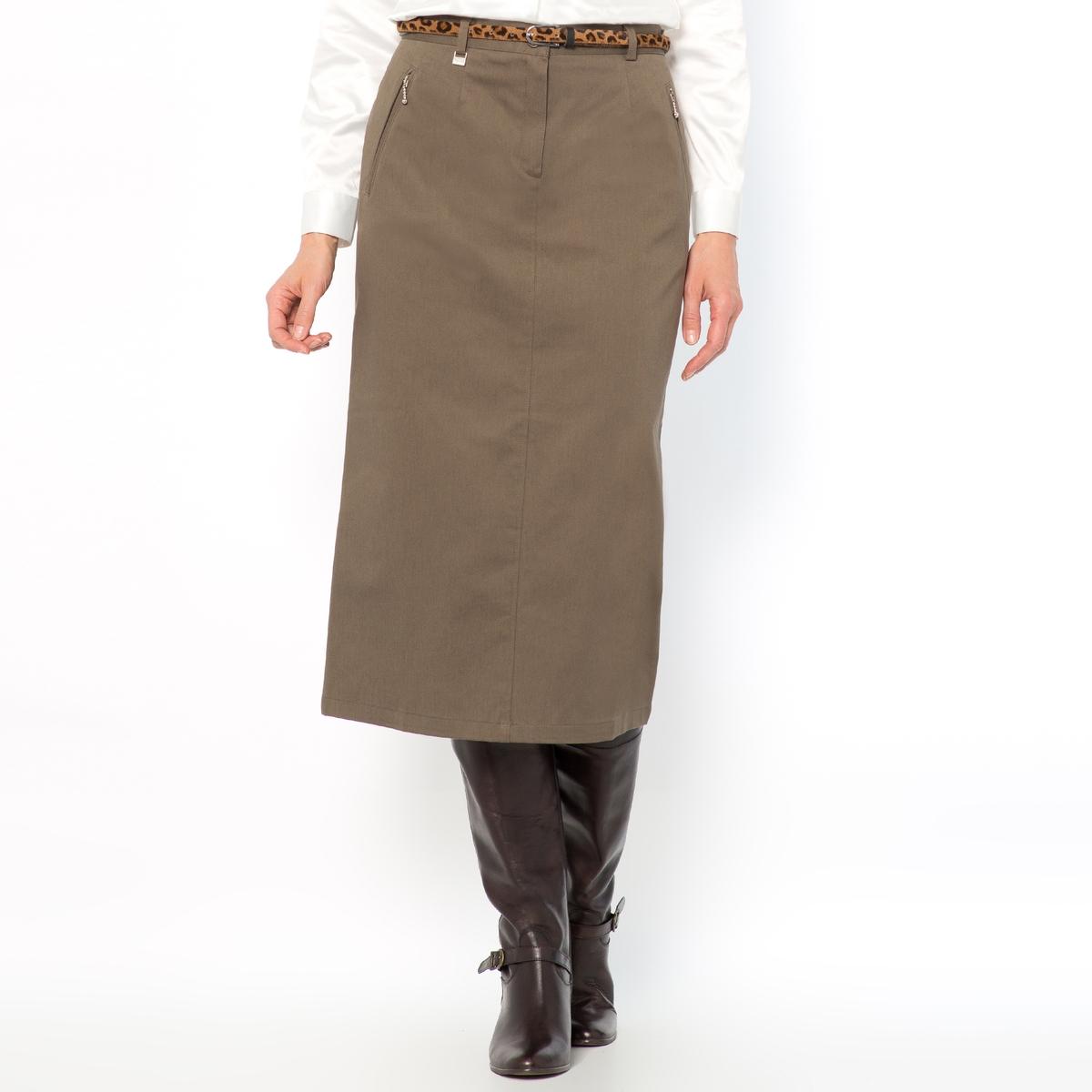 Юбка из хлопкового сатина стретч, длина. 75 смИдеальная юбка, если вам требуется долго оставаться в сидячем положении, легко носить. Состав и описание :Материал : комфортный хлопковый сатин, 98% хлопка, 2% эластана лайкра®. Длина 75 см.Марка : Anne WeyburnУход :Машинная стирка при 30 °С в умеренном режиме.Гладить при низкой температуре.<br><br>Цвет: каштановый,серо-коричневый,хаки,черный<br>Размер: 46 (FR) - 52 (RUS)