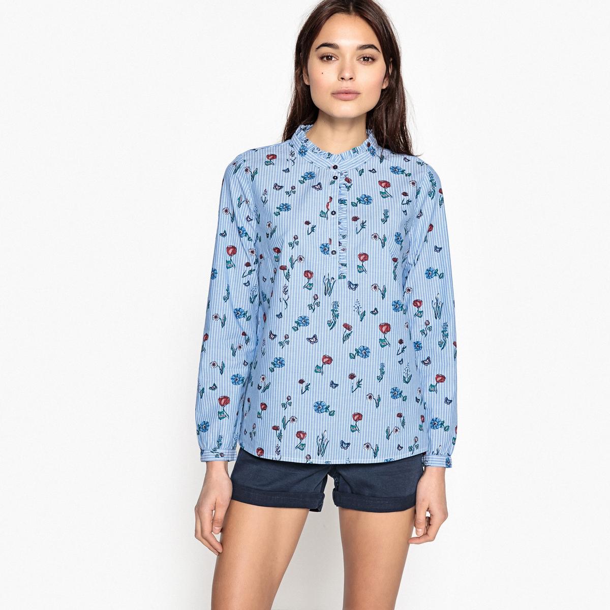 Блузка с круглым вырезом и цветочным рисунком blazer sir raymond tailor пиджаки и жакеты длинные