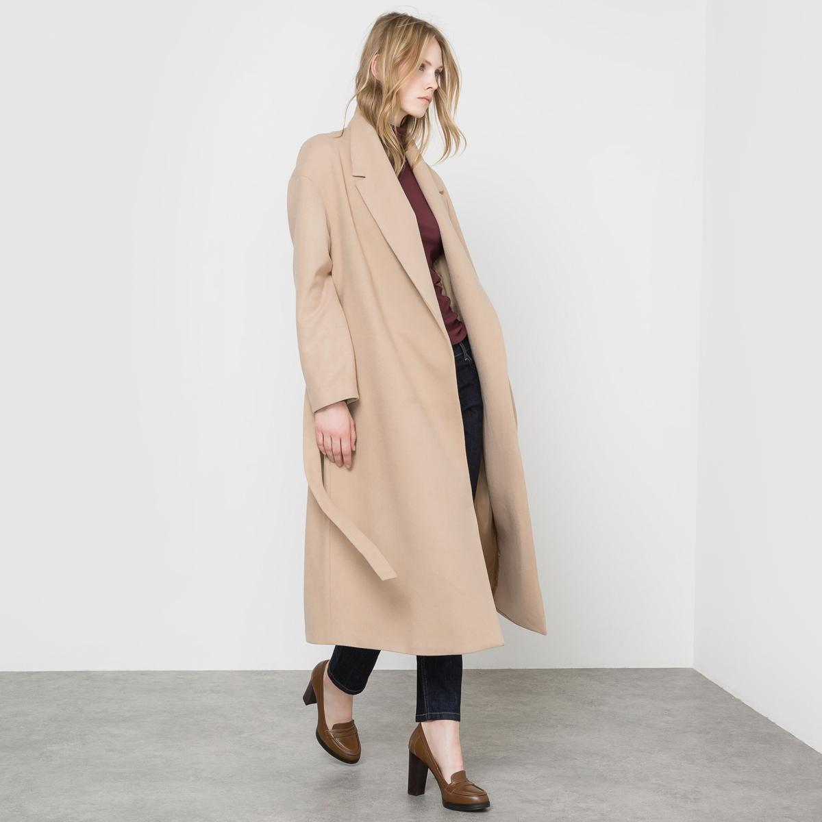 Пальто длинное без застежки с поясом