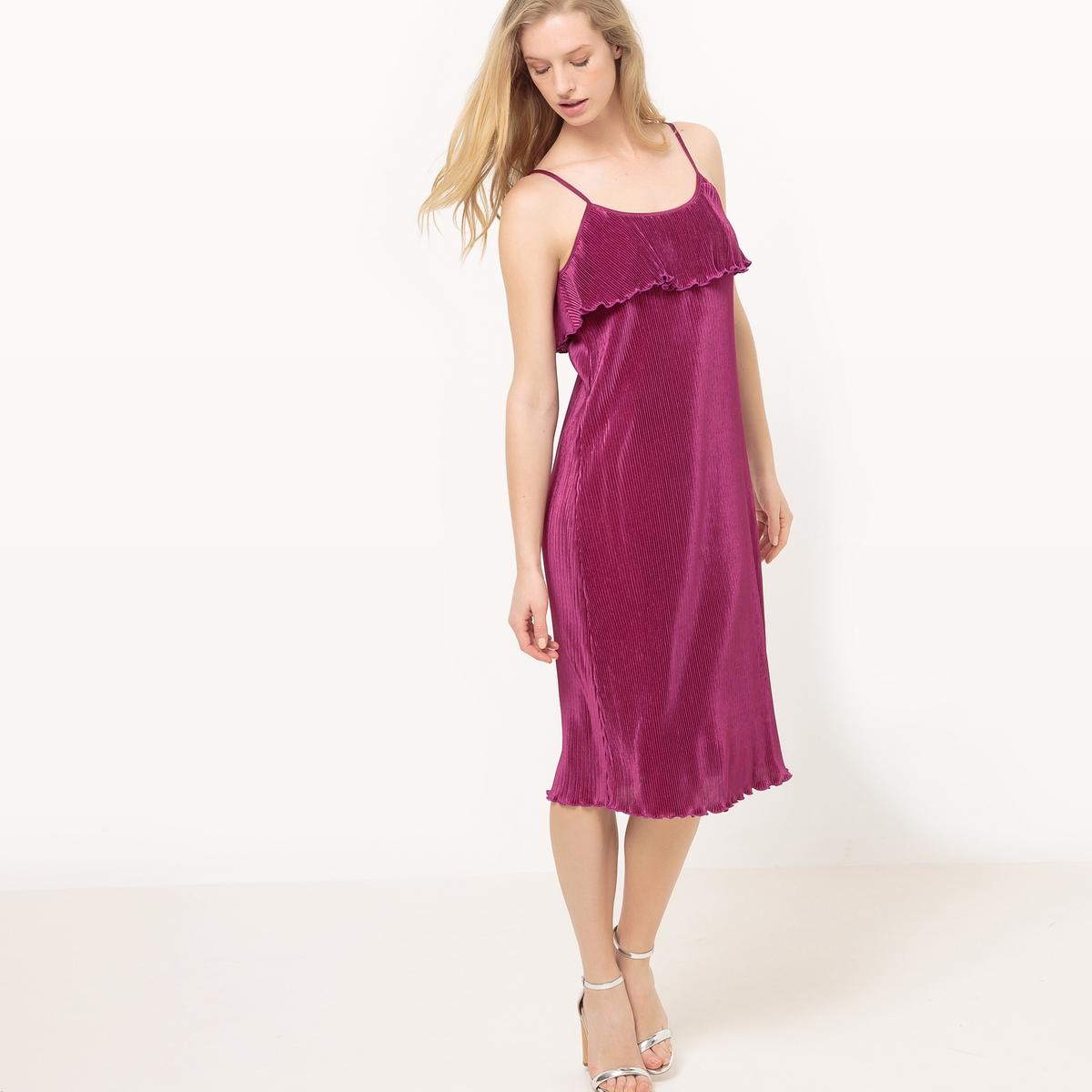 Vestido plissado com alças finas