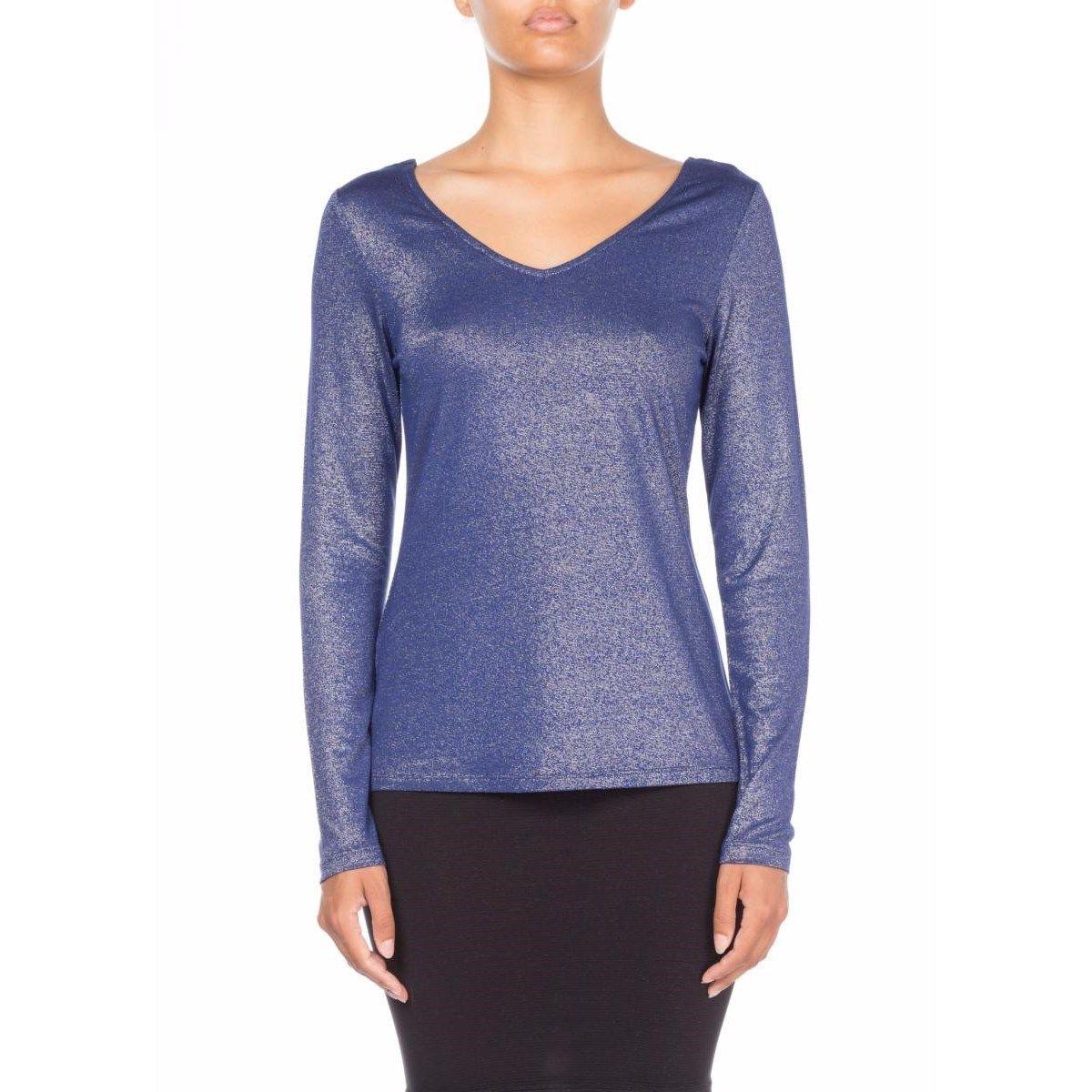 T-shirt manches longues col V decolleté dos en Fil textile ultra-doux Ida