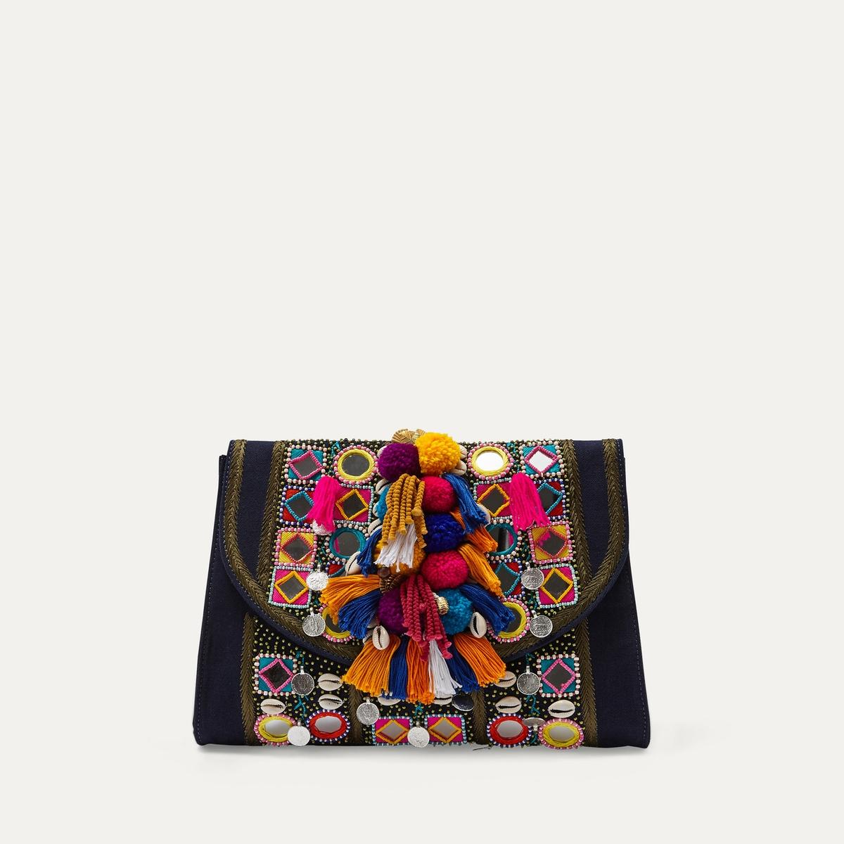 Клатч KOSHI WALLETСостав и описание Материал : 90% хлопка, 10% кожиПодкладка из текстиляРазмеры : ок. 26x33 см.Отделения : 1 Карманы : внутренние карманы для карточек + 1 внутренний карманМарка : ANTIK BATIK<br><br>Цвет: синий