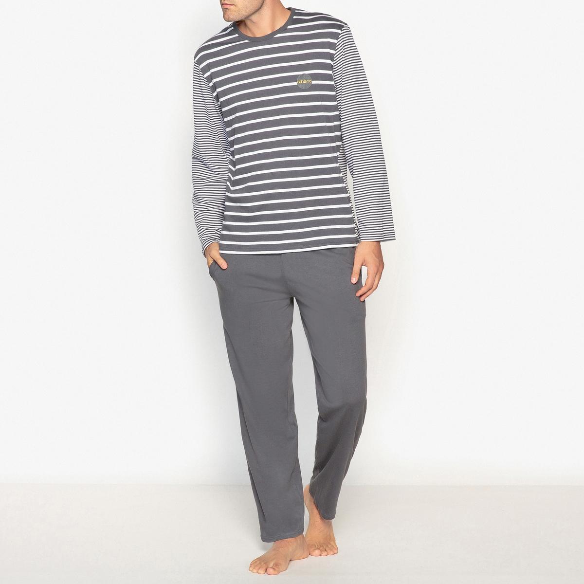 Пижама с футболкой в полоску с длинными рукавами, 100% хлопокПижама ATHENA с футболкой в полоску с длинными однотонными рукавами. Прямой покрой, круглый вырез. Брюки прямого покроя.Описание  •  Футболка в полоску с длинными рукавами •  Круглый вырез  •  Длинные брюки, эластичный пояс с затягиваемым шнурком  •  2 боковых кармана (?)Состав и уход •  Основной материал : 100% хлопок, окрашенные нити •  Машинная стирка при 30 °С •  Стирать с вещами схожих цветов<br><br>Цвет: антрацит