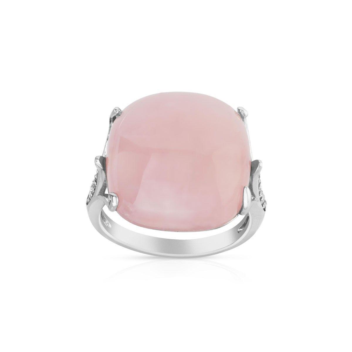 Bague argent 925 quartz rose