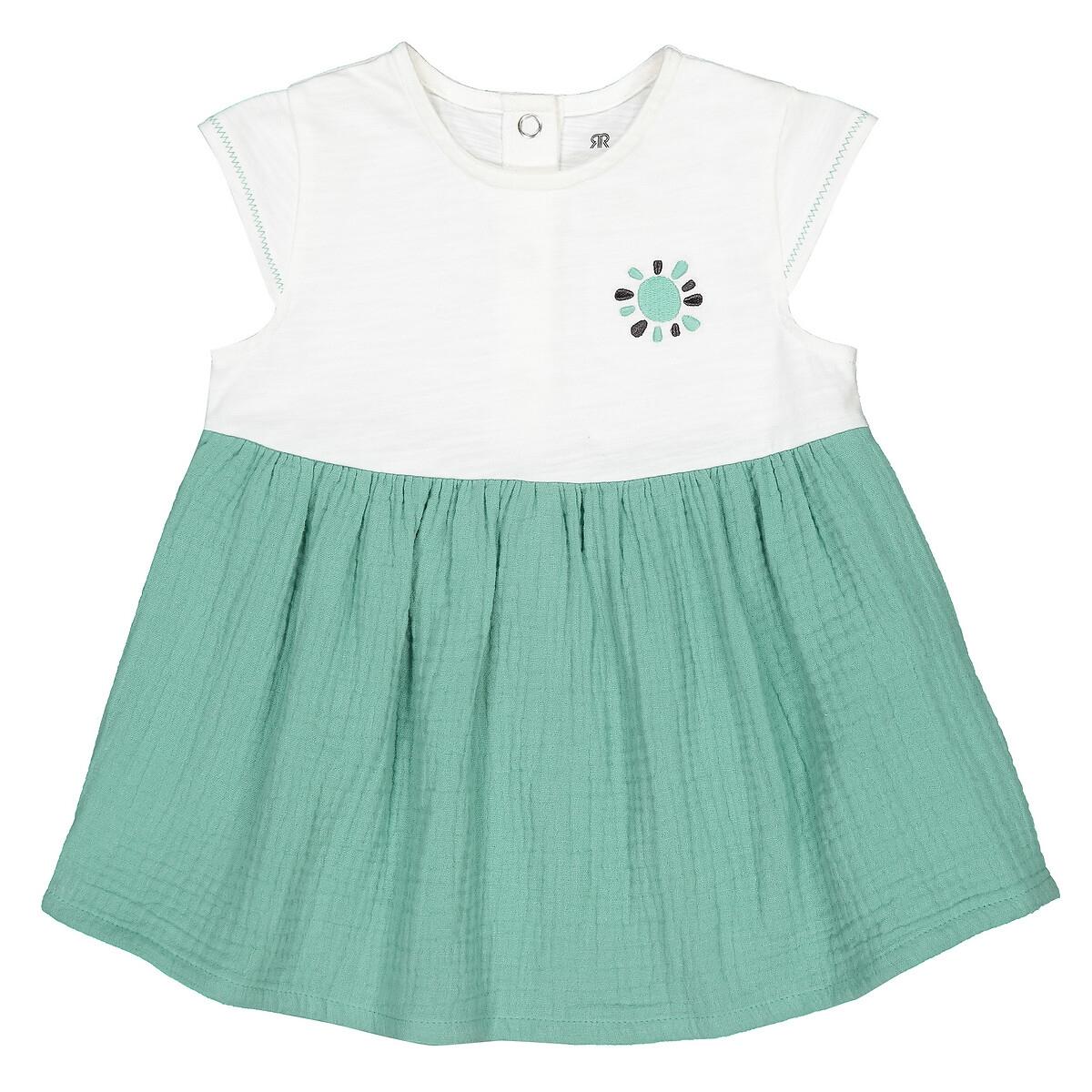 Платье LaRedoute С короткими двухцветными рукавами 3 мес-4 года 1 год - 74 см зеленый