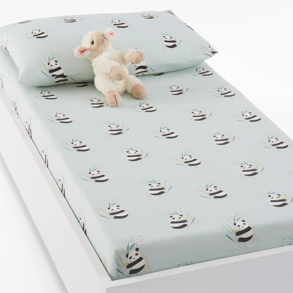 Простыня натяжная для детской кроватки с рисунком панды VICTOR