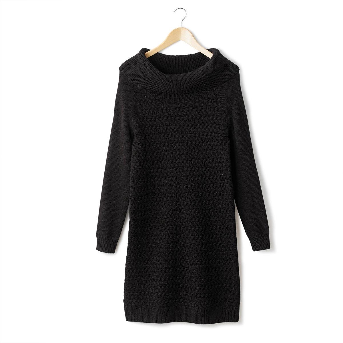 Платье-пуловер с витым узоромПлатье-пуловер с витым узором. Объёмный воротник  в рубчик. Витые узоры спереди. Длинные рукава и спинка из трикотажа джерси,  40% шерсти, 30% альпаки, 30% акрила. Пройма реглан. Отделка рубчиком низа и низа рукавов. Длина 92 см.<br><br>Цвет: черный<br>Размер: 34/36 (FR) - 40/42 (RUS)
