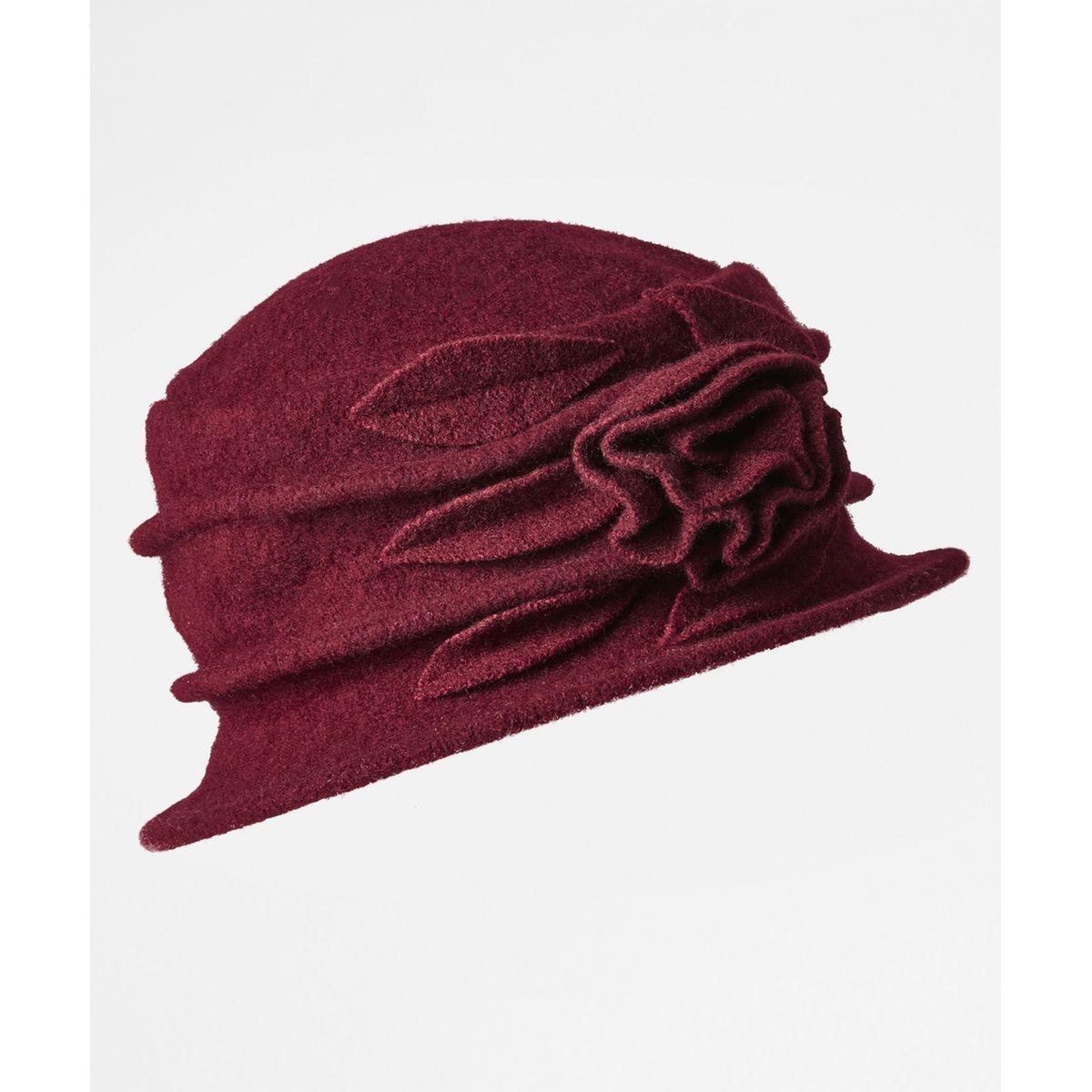 Chapeau cloche en laine à motif fleuri