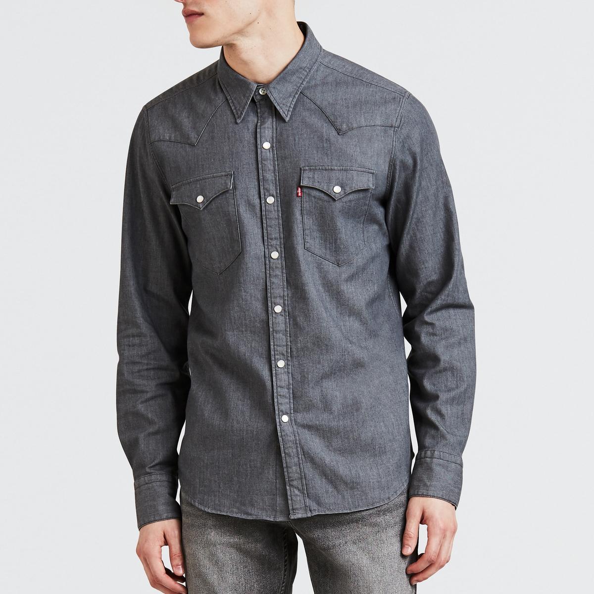 Camisa recta, de manga larga