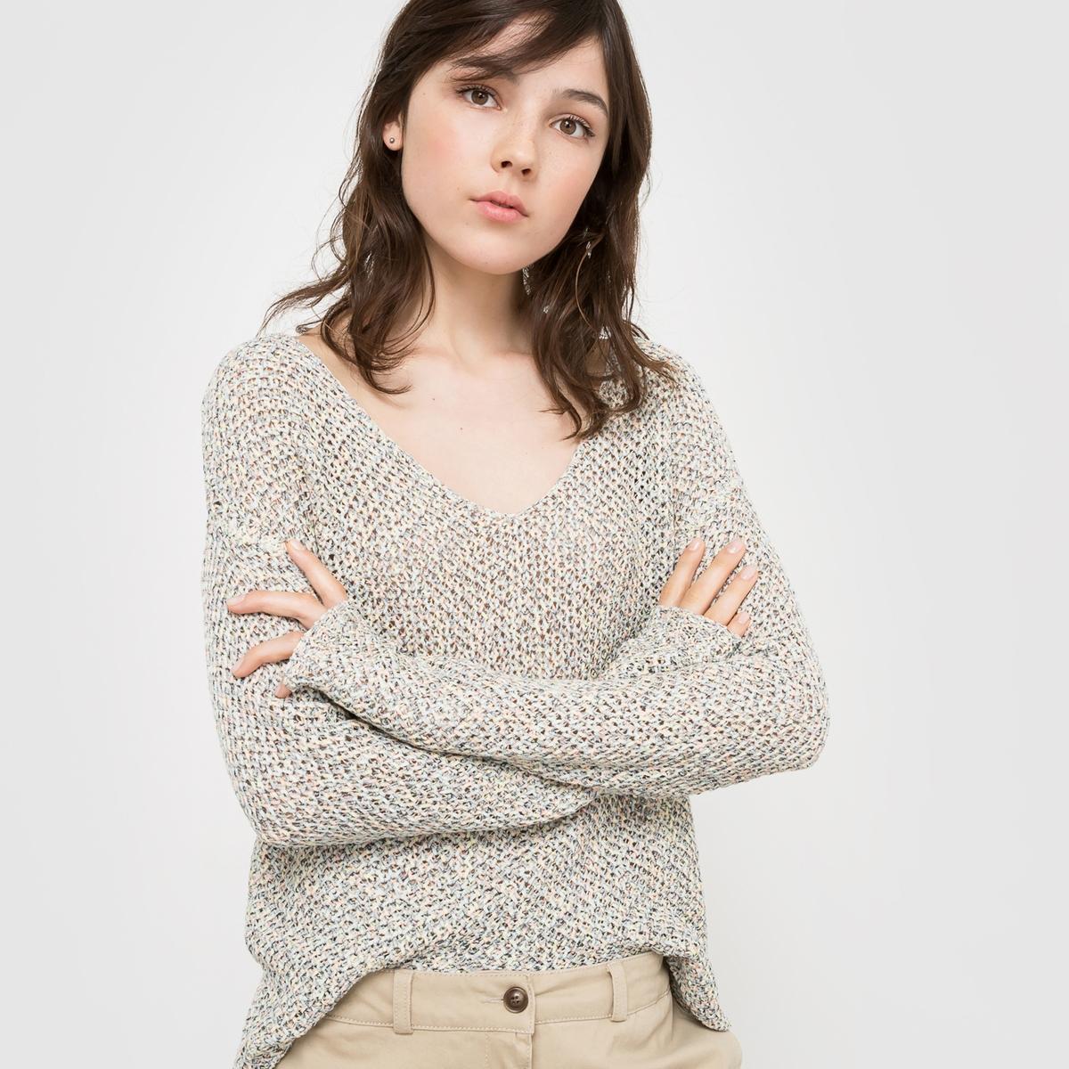 Пуловер с длинными рукавами и V-образным вырезом из ленточного трикотажаПуловер из ленточного трикотажа 62% акрила, 38% полиамида для цвета морская волна, 73% хлопка, 27% полиэстера для цвета серый меланж .  Длинные рукава. Края рукавов и низа связаны в рубчик. Длина 63 см.Очень женственный пуловер из оригинального трикотажа!<br><br>Цвет: меланж зеленый,разноцветный меланж<br>Размер: 42/44 (FR) - 48/50 (RUS).46/48 (FR) - 52/54 (RUS)