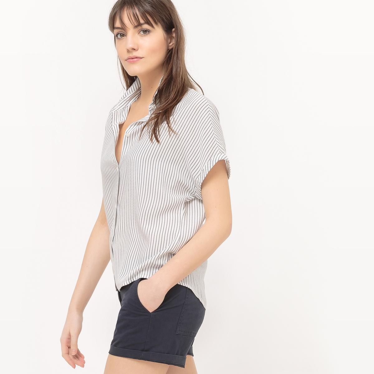 Блузка в полоску с короткими рукавами