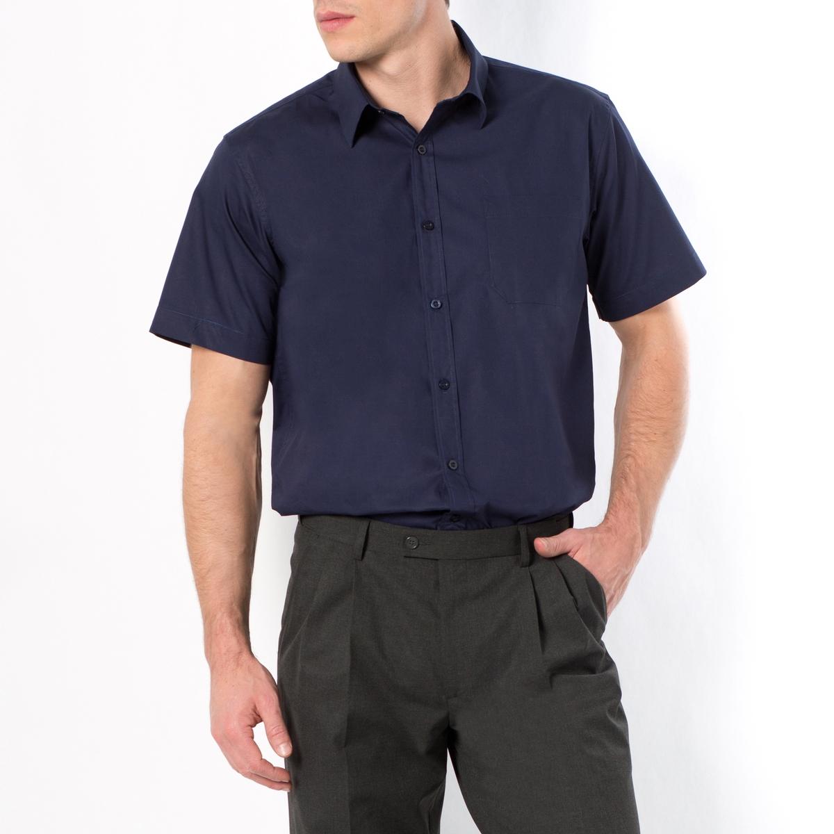 Рубашка из поплина с короткими рукавами, рост 1 и 2Рубашка с короткими рукавами, рост 1 и 2. 1 накладной нагрудный карман. Складка с полоской ткани на спинке. Из поплина, 100% хлопок. Рост 1 и 2 (при росте до 187 см) : Рост 1 и 2 (при росте до 187 см) :  - длина рубашки спереди 85 см для размера 41/42 и 92 см для размера 55/56.- длина рукавов 24 см для размера 41/42 и 27,5 см для размера 55/56Данная модель представлена также для роста 3 (при росте от 187 см) и с длинными рукавами.<br><br>Цвет: белый,голубой,черный<br>Размер: 41/42.43/44.47/48.51/52.53/54.47/48.53/54.49/50