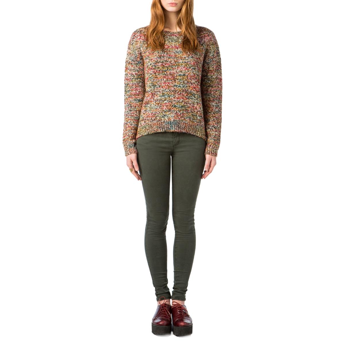 Пуловер с круглым вырезом из тонкого трикотажаДетали •  Длинные рукава •  Круглый вырез •  Тонкий трикотаж  •  Рисунок-принтСостав и уход •  63% акрила, 32% хлопка, 5% полиамида •  Следуйте советам по уходу, указанным на этикетке<br><br>Цвет: разноцветный