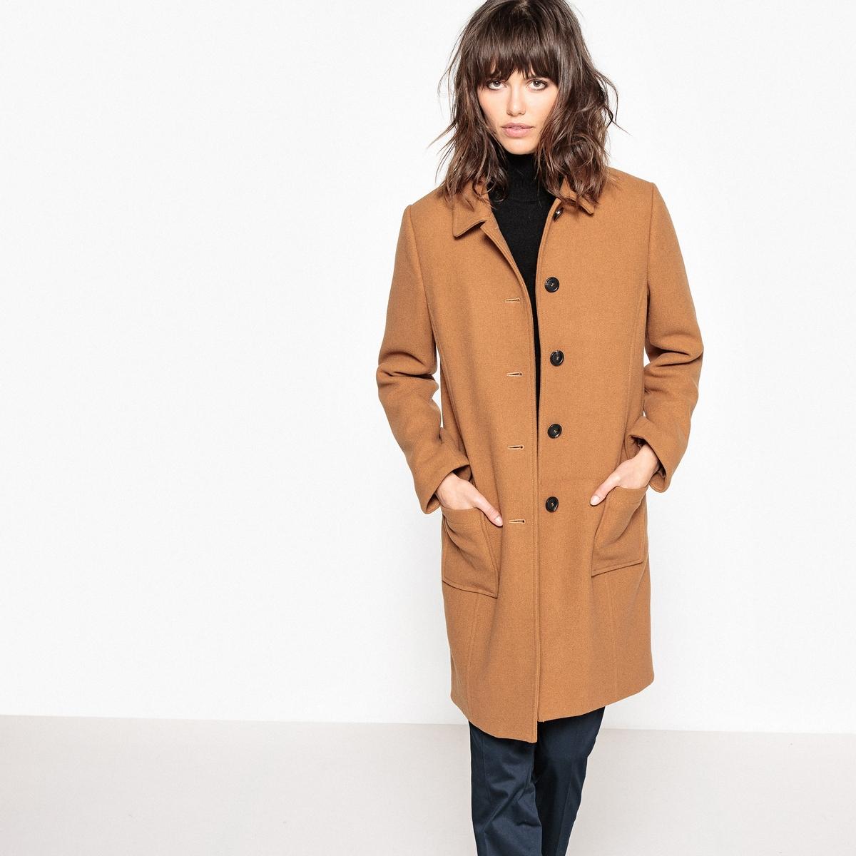 Пальто прямого покроя из шерстяного драпаОписание:Стильное пальто средней длины. Это элегантное пальто из шерстяного драпа отлично защитит вас от холода этой зимойДетали •  Длина : средняя •  Воротник-поло, рубашечный • Застежка на пуговицыСостав и уход •  55% шерсти, 4% акрила, 3% полиамида, 38% полиэстера • Не стирать •  Деликатная чистка/без отбеливателей •  Не использовать барабанную сушку   •  Низкая температура глажки •  Длина : 91 см<br><br>Цвет: темно-бежевый,темно-синий<br>Размер: 40 (FR) - 46 (RUS).48 (FR) - 54 (RUS).34 (FR) - 40 (RUS).44 (FR) - 50 (RUS)