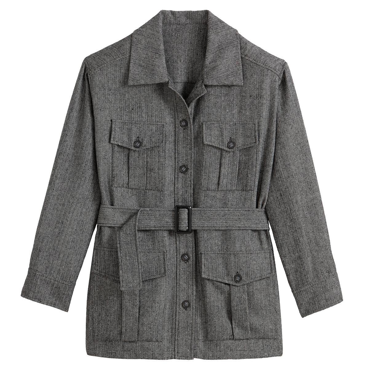 Casaco estilo safari, em tweed espinhado