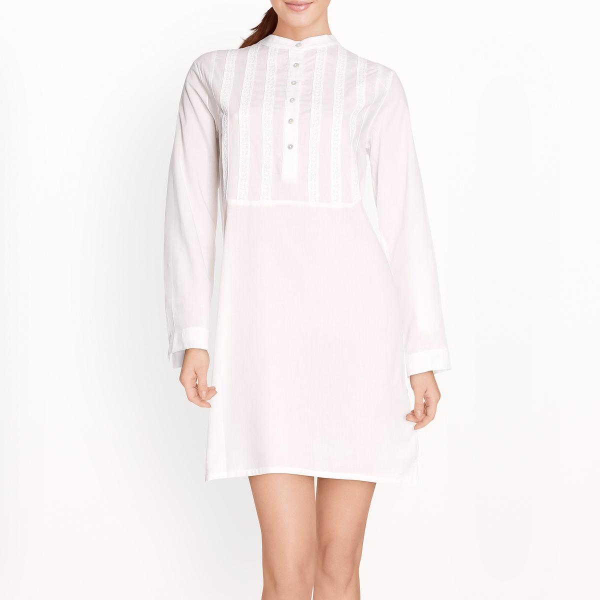 Сорочка ночная со вставкой с вышивкой