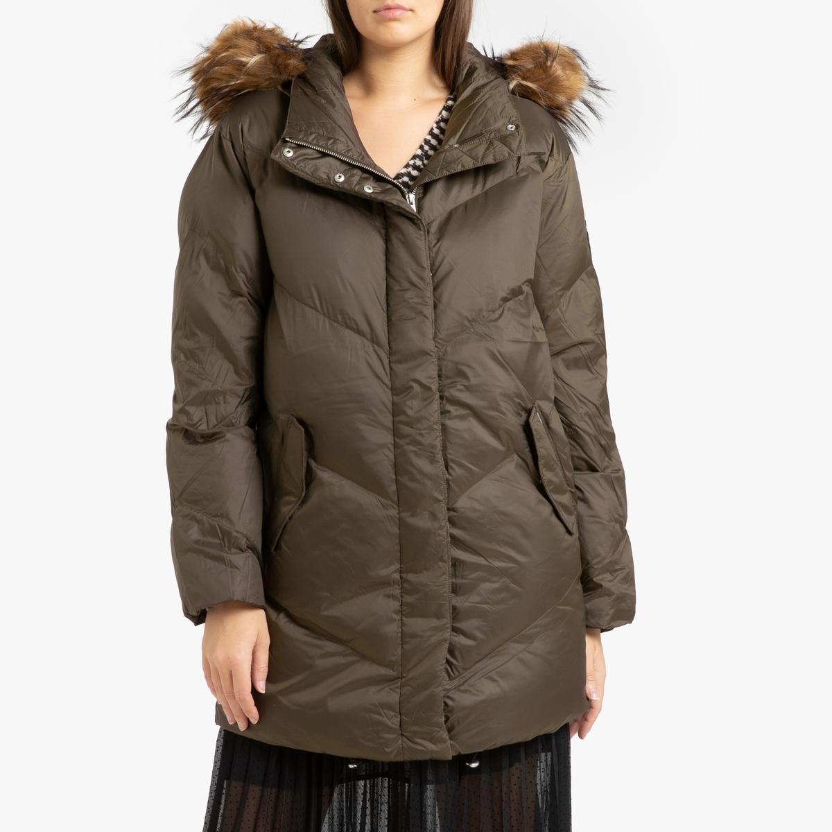 цена Куртка La Redoute Стеганая средней длины с капюшоном M зеленый онлайн в 2017 году