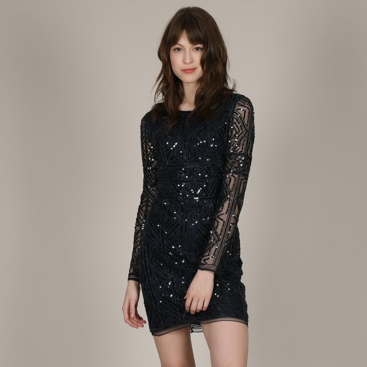Платье La Redoute Короткое прямое с блестками и длинными рукавами M синий платье la redoute прямое струящееся cienna 2 m синий