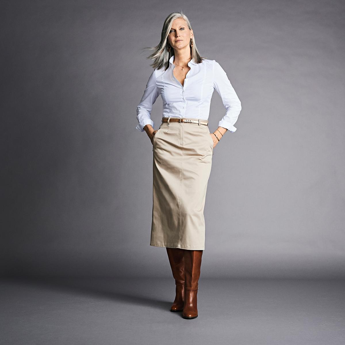 Imagen principal de producto de Falda de satén de algodón stretch, largo 75 cm - Anne weyburn