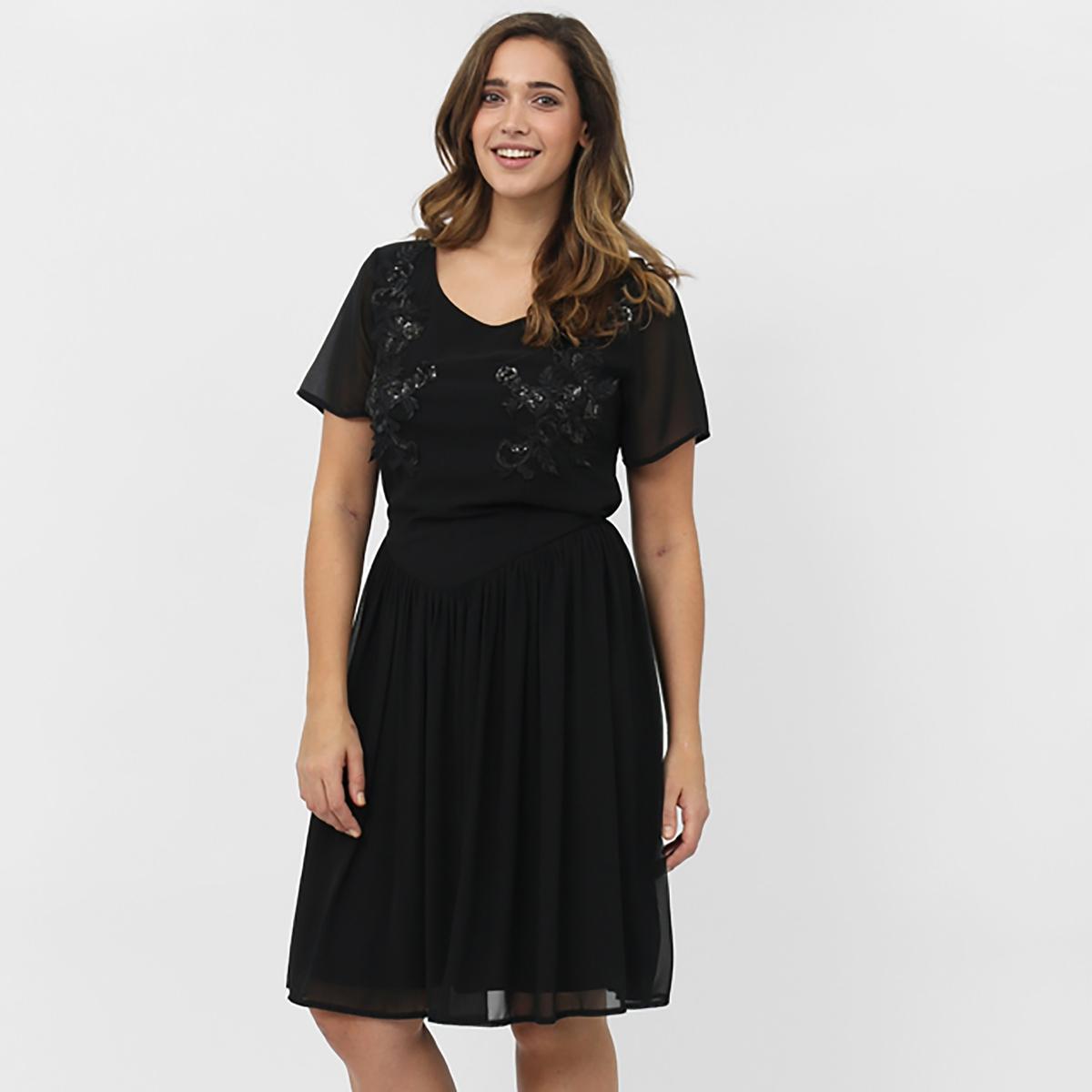 Платье с короткими рукавамиПлатье с короткими рукавами KOKO BY KOKO. V-образный вырез . Вышивка спереди. Длина около 101 см. 100% полиэстера<br><br>Цвет: черный