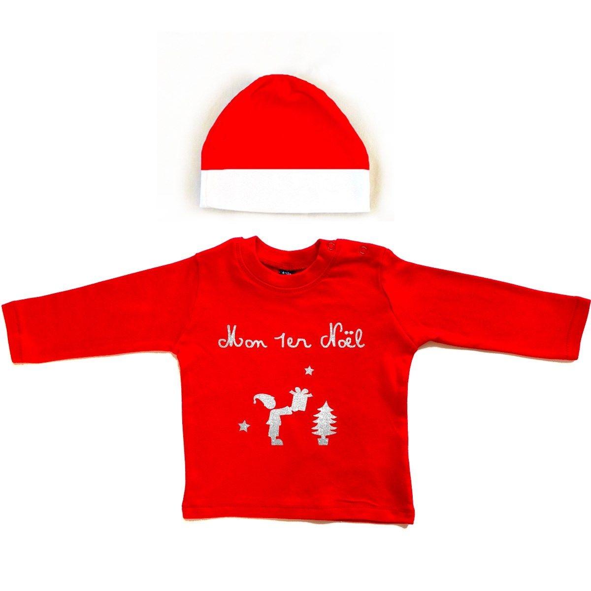 Kit T-shirt et bonnet bébé 100% coton NOEL