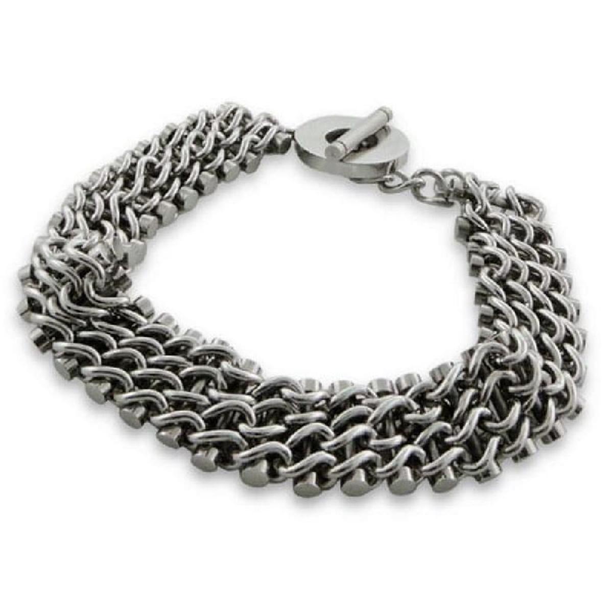 Bracelet 24 cm Chaîne Multiples Rangs Acier