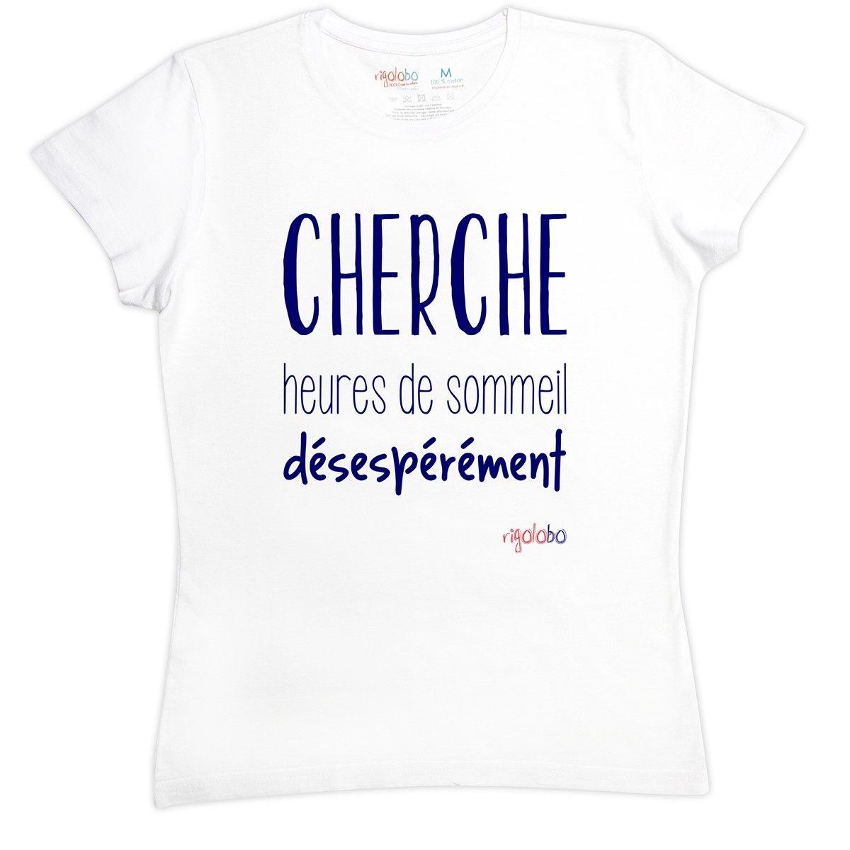 T-shirt femme en coton CHERCHE heures de sommeil désepérément