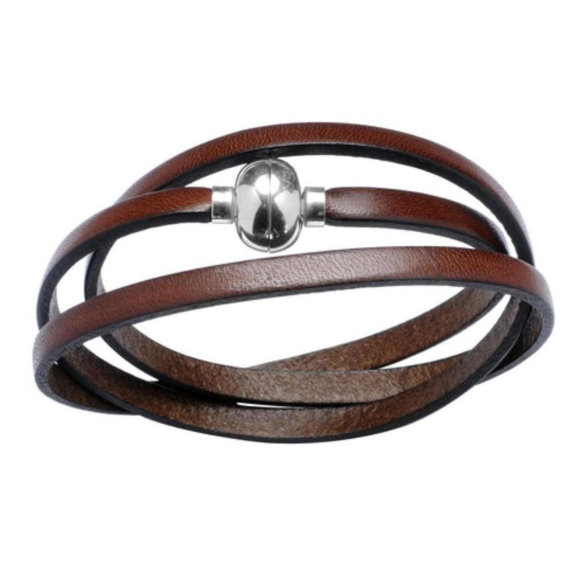 Bracelet 3 Tours Cuir Marron Brun Boule Fermoir Magnétique Acier